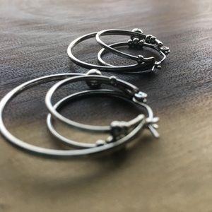 Jewelry - Earrings Fashion Triple Hoops Silver Toned